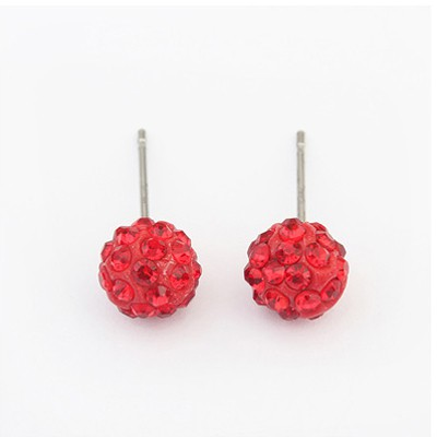 Red Diamond Round Shape Earring
