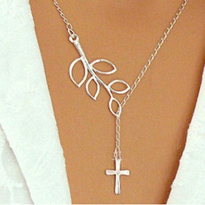 Silver Cross Leaf Shape Necklace
