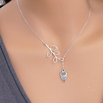Silver Owl Shape Necklace