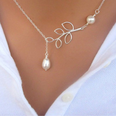 Silver Pearl Leaf Shape Necklace