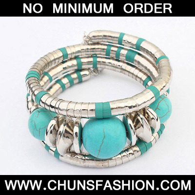 Blue Beads Multilayer Bangle