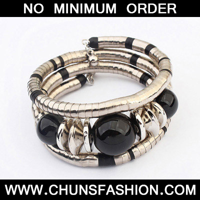 Black Beads Multilayer Bangle