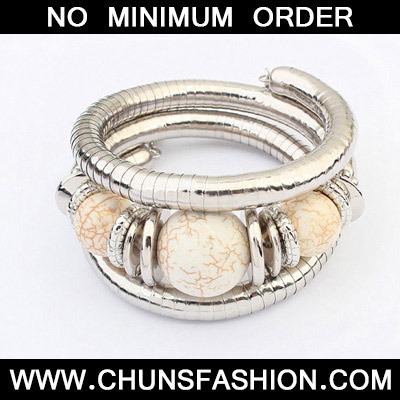 Beige Beads Multilayer Bangle