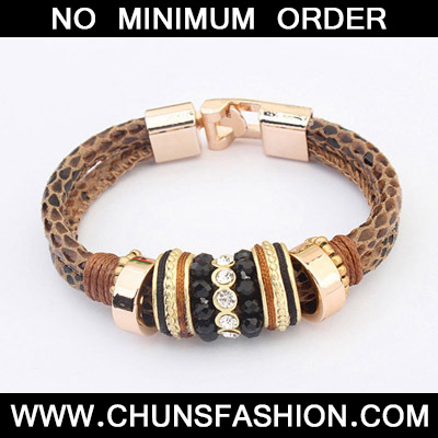 Coffee Diamond Leopard Pattern Bracele