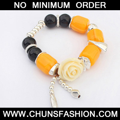 Black & Yellow Rose Shape Bracele