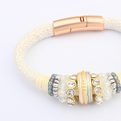 White & Leopard Diamond Bracele