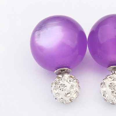 Purple Candy Round Shape Stud Earring