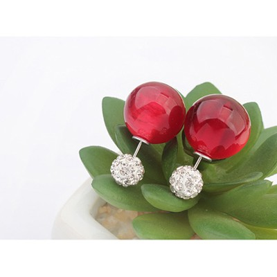 Red Candy Round Shape Stud Earring