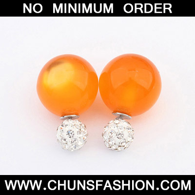 Orange Candy Round Shape Stud Earring