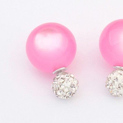 Plum Red Candy Round Shape Stud Earring