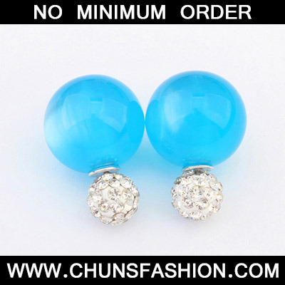 Navy Blue Candy Round Shape Stud Earring