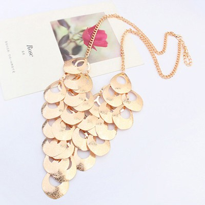 Gold Waterdrop Shape Hollow Out Necklace