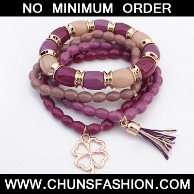 Purplish Red Clover Shape Multilayer Bracele