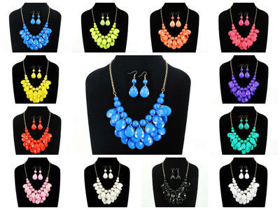 36 sets of bubble bib Chain Necklace ( 12 colors )#48