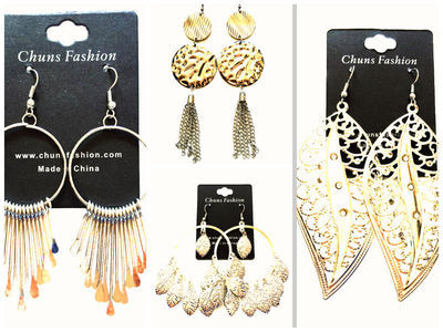 72 X Metal /Gold Style Earrings #55